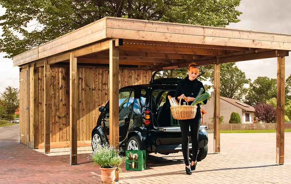 Carport mit integriertem Gartenhaus | HolzLand Stoellger in Langenhagen